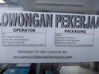 Lowongan Kerja PT. Beta Pharmacon
