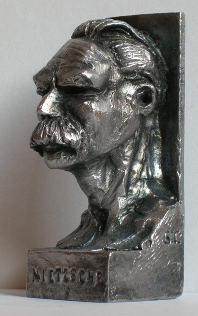 Friedrich Nietzsche, bronze sculpture by Giuseppe Tattarletti