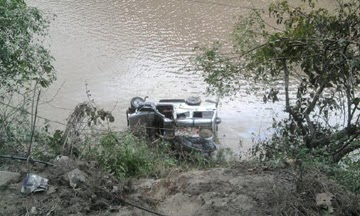 The mangled remains of the vehicle near Teesta.