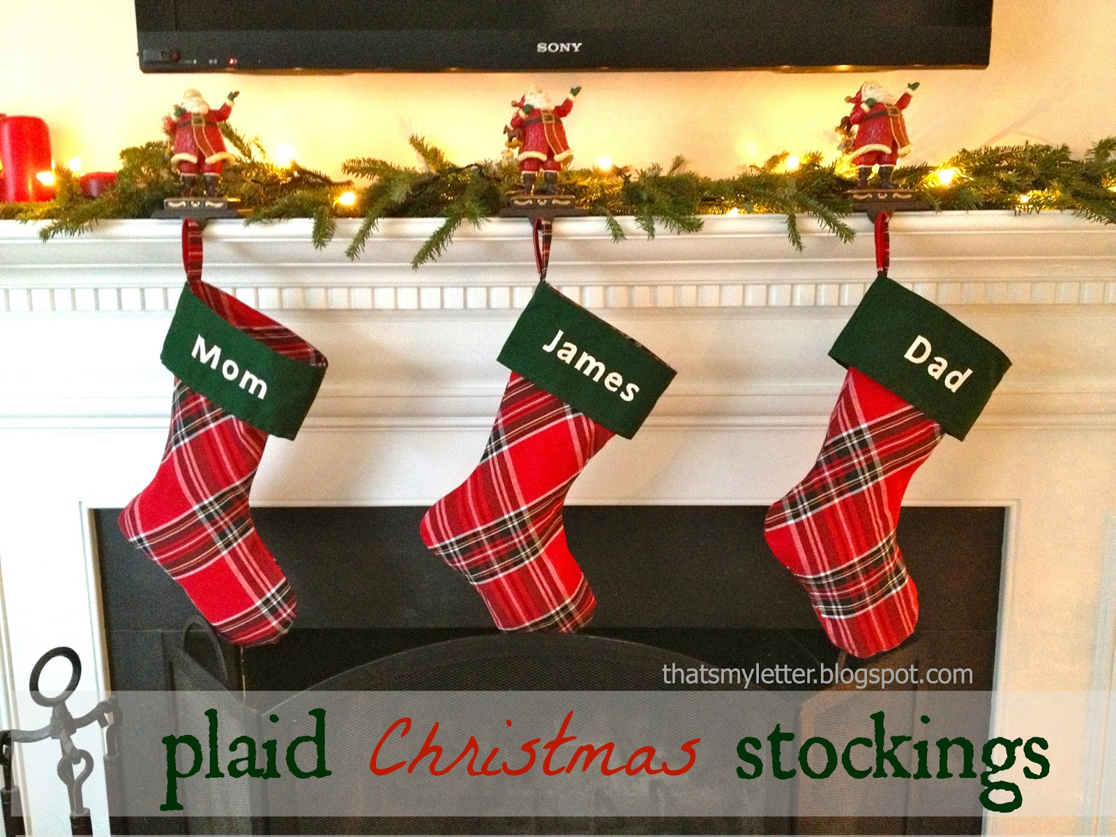 p is for plaid stockings - Plaid Christmas Stockings