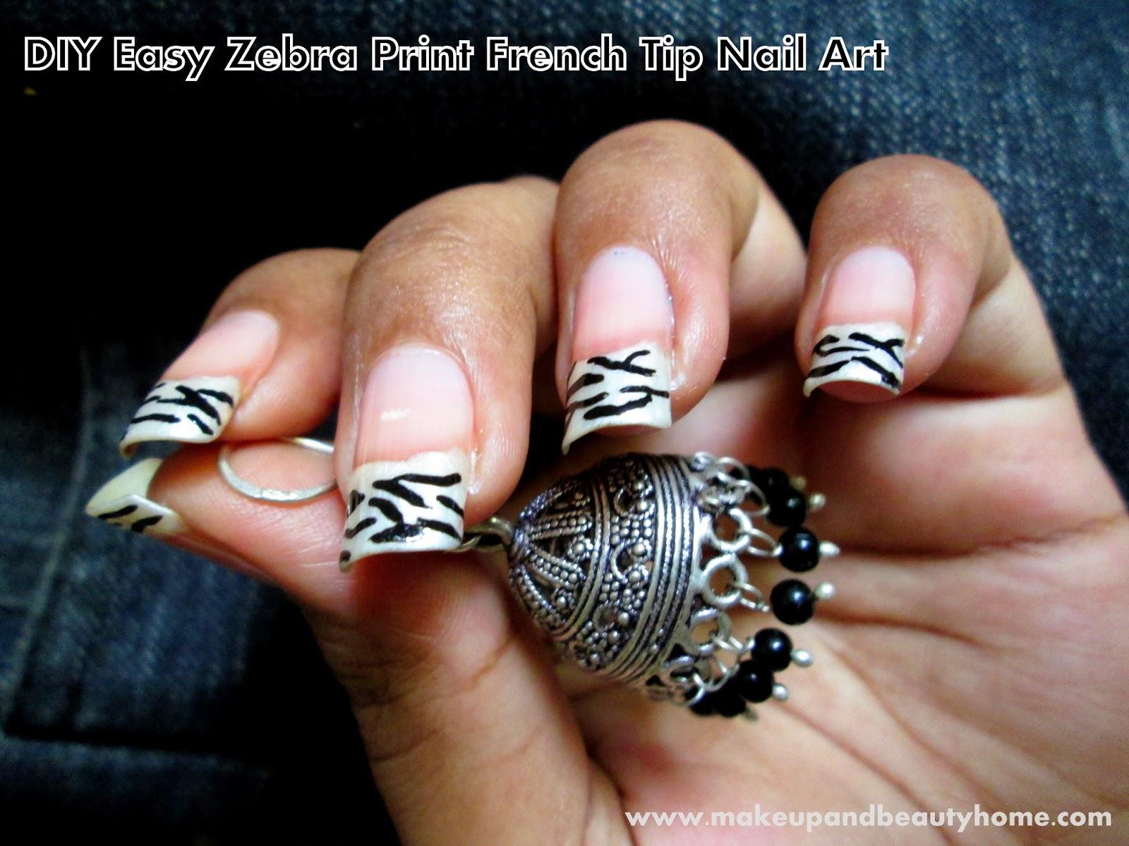 DIY Easy Zebra Print French Tip Nail Art Tutorial - Makeup And ...