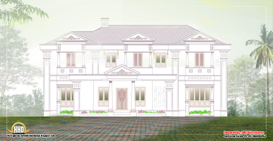Luxury Villa 2D elevation - 3456 Sq. Ft. (321 Sq.M.) (284 Square Yards) - April 2012