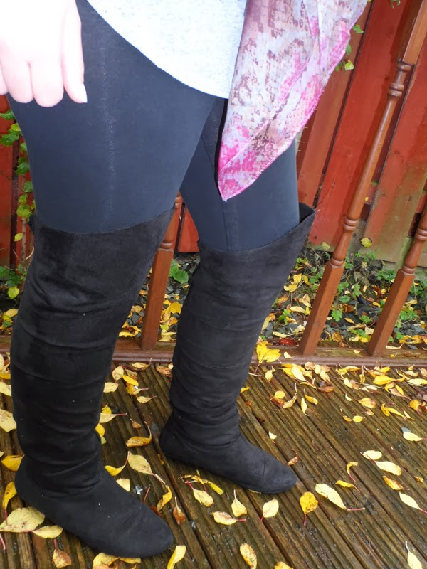Over Knee Boots, Faux Leather Gilet