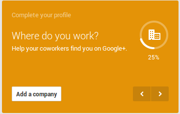 company information on Google+ profile
