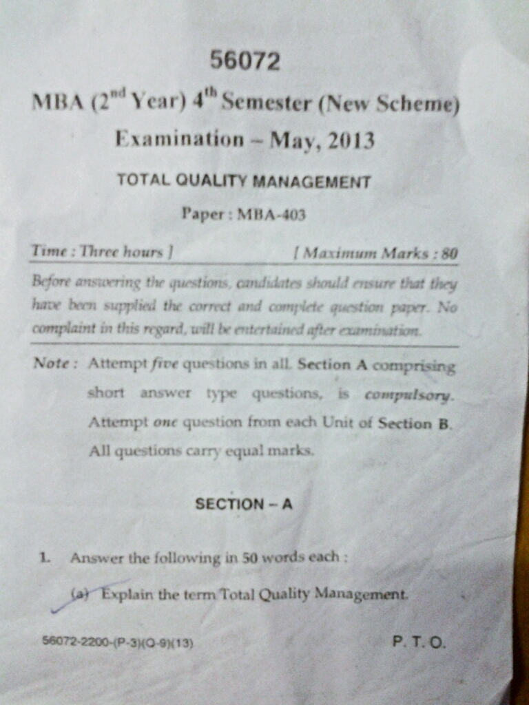 ge2022 total quality management question papers Purchase total quality management total quality management 2 anna university for mba - ge2022 total quality management paper.