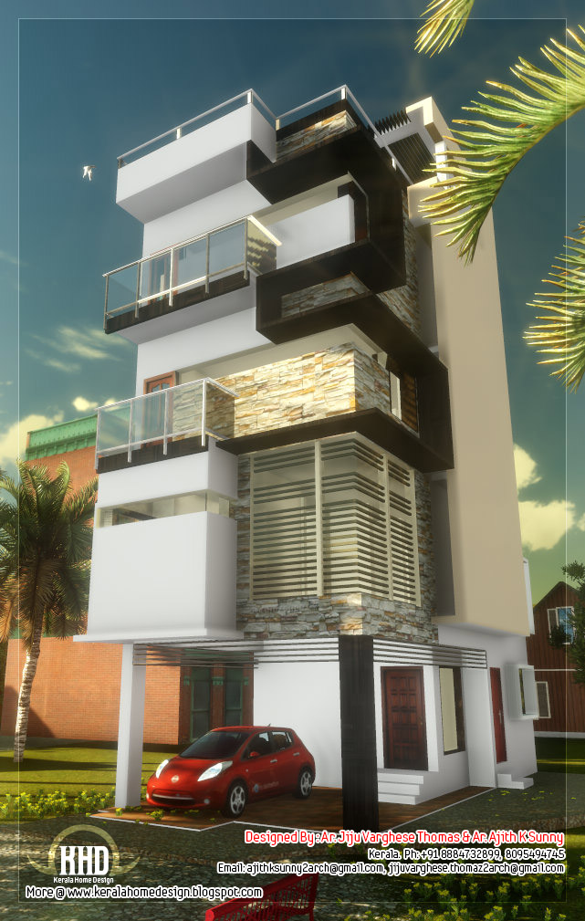 3 floor contemporary narrow home design kerala home for Narrow floor plans with front elevation