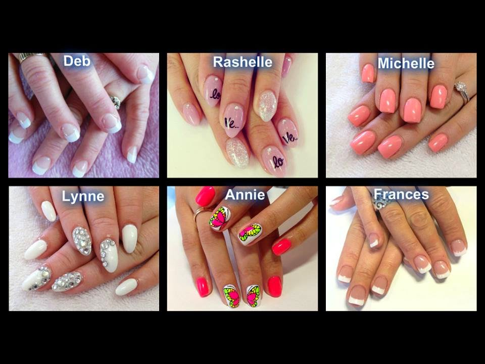 Acrylics-and-polish-classic-French-pink-and-white-back-fills-neon-designs-stone-feats-and-glitz