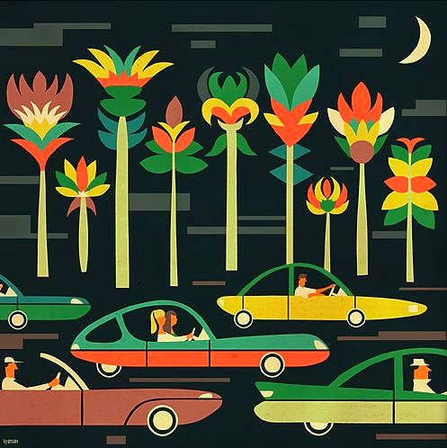 illustration by Iv Orlov of cars and trees at night