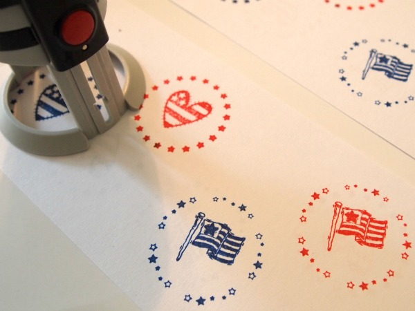 Patriotic stamps in red, white, and blue using PSA Essentials Peel & Stick Stamper!