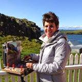 At the easel in Iceland