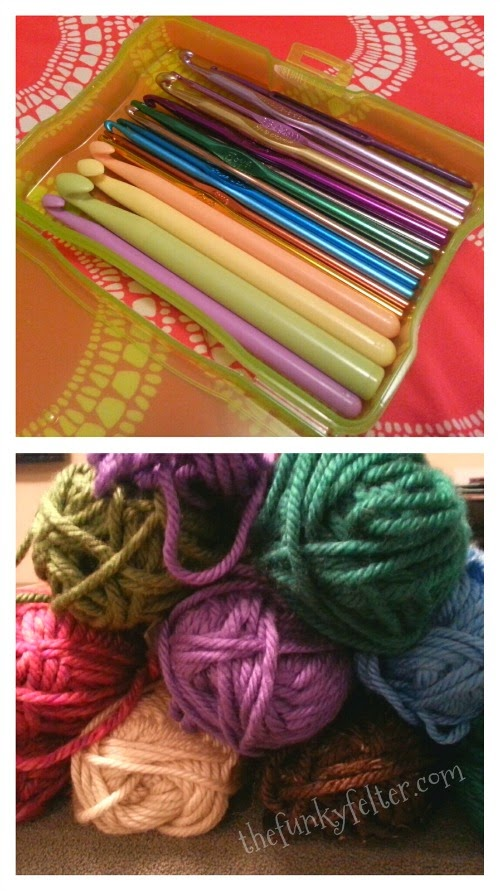 crochet hooks and yarn stash for making holiday gifts by the funky felter