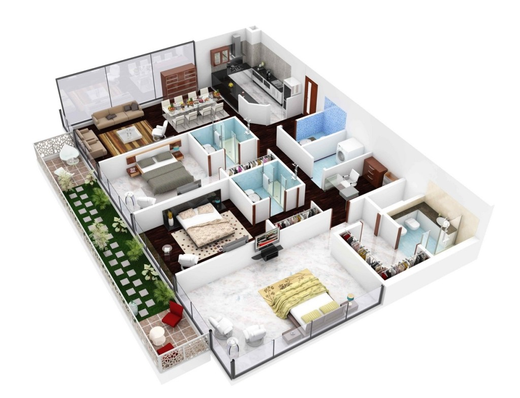 3d perfect house plans with three badroom architecture for Three bedroom house layout