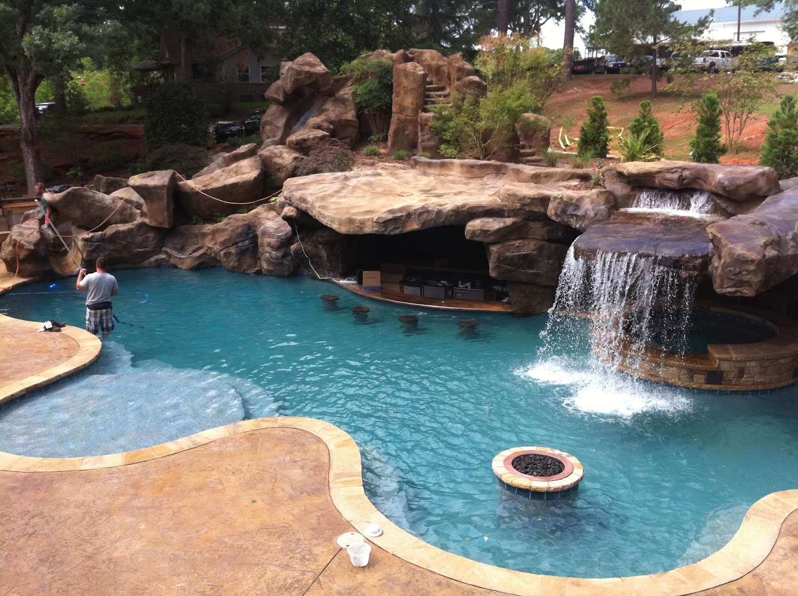 custom pool faux rock grotto 40 slide - Swimming Pools With Grottos