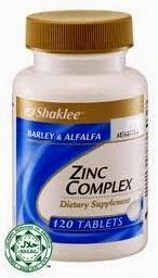 kebaikan zinc complex shaklee