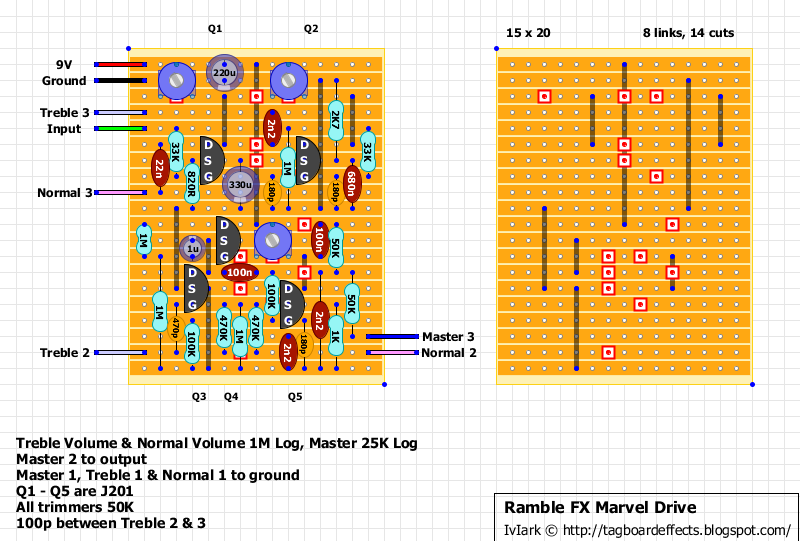 guitar fx layouts ramble fx marvel drive marvel drive uses 2 jfet gain stages in parallel one a bright and throaty scream and one that brings the thump of a full stack