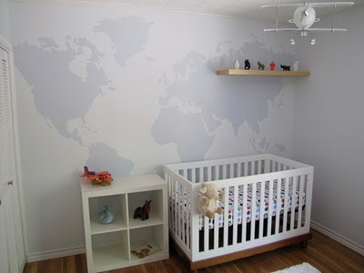 Mad for Mid Century Easy World Map Mural for a Travel Nursery