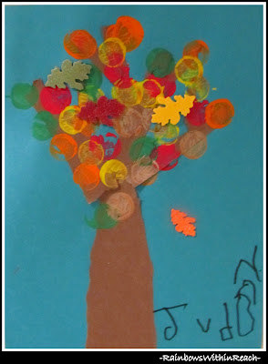 photo of: Fall Art Project in Preschool: Colored Leaf Painting Project