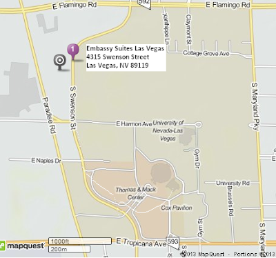 Map of Thomas & Mack Center and Embassy Suites Las Vegas. 1.3 miles and 3 minutes away.