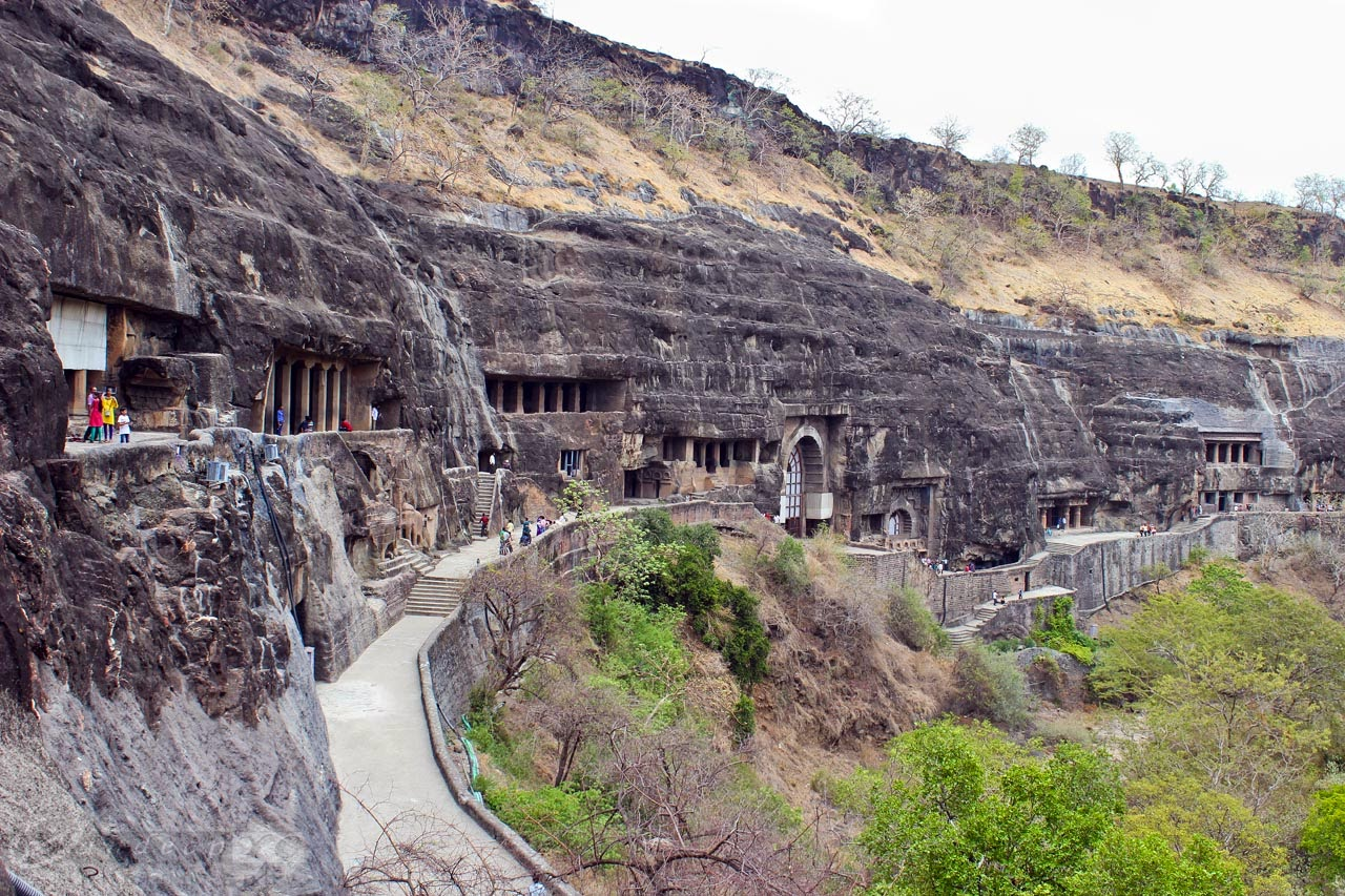 Hinayana Caves 8 to 13 in the middle