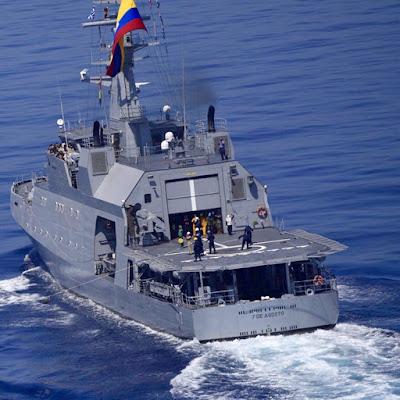 ARC 7 de Agosto de la Armada de Colombia, operando en misiones antipiratería frente a las costas de Somalia en el Oceáno Índico