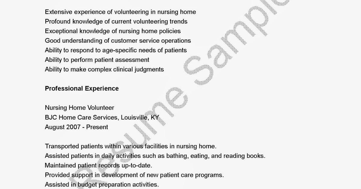 resume samples nursing home volunteer resume sample