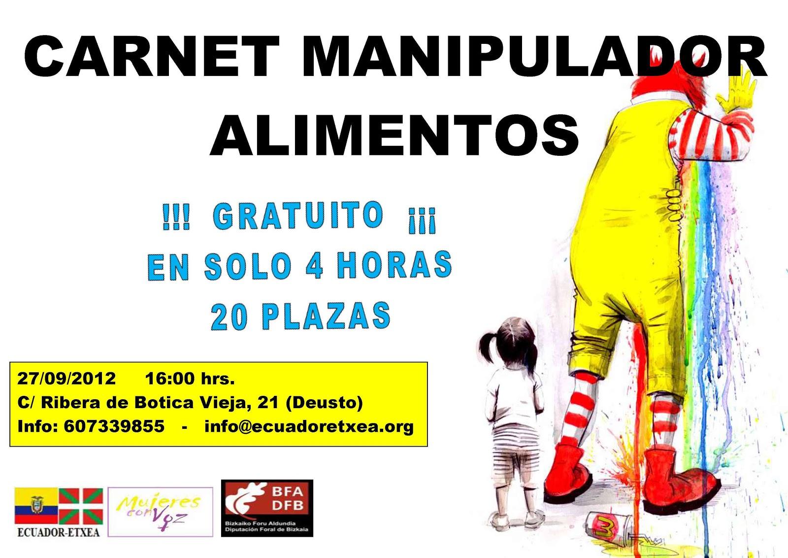 Ecuador etxea oficial curso carnet de manipulador de alimentos gratuito - Certificado de manipulador de alimentos gratis online ...