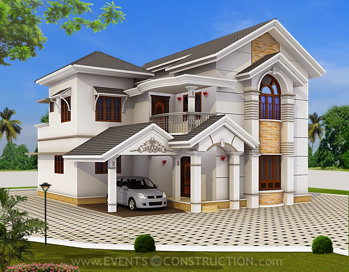 Evens construction pvt ltd awesome elevation of kerala for House outer wall design