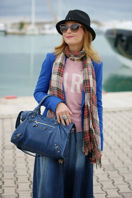 Balenciaga City cobalt, Reese Estrellita silver ring,Replay fedora hat, Fashion and Cookies, fashion blogger