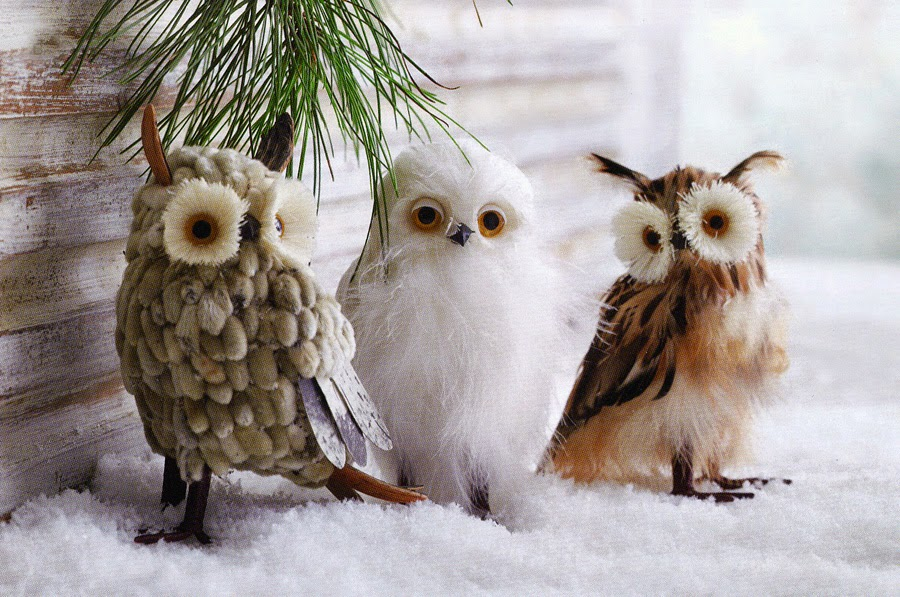 Christmas Decorations Natural Owls Decorations