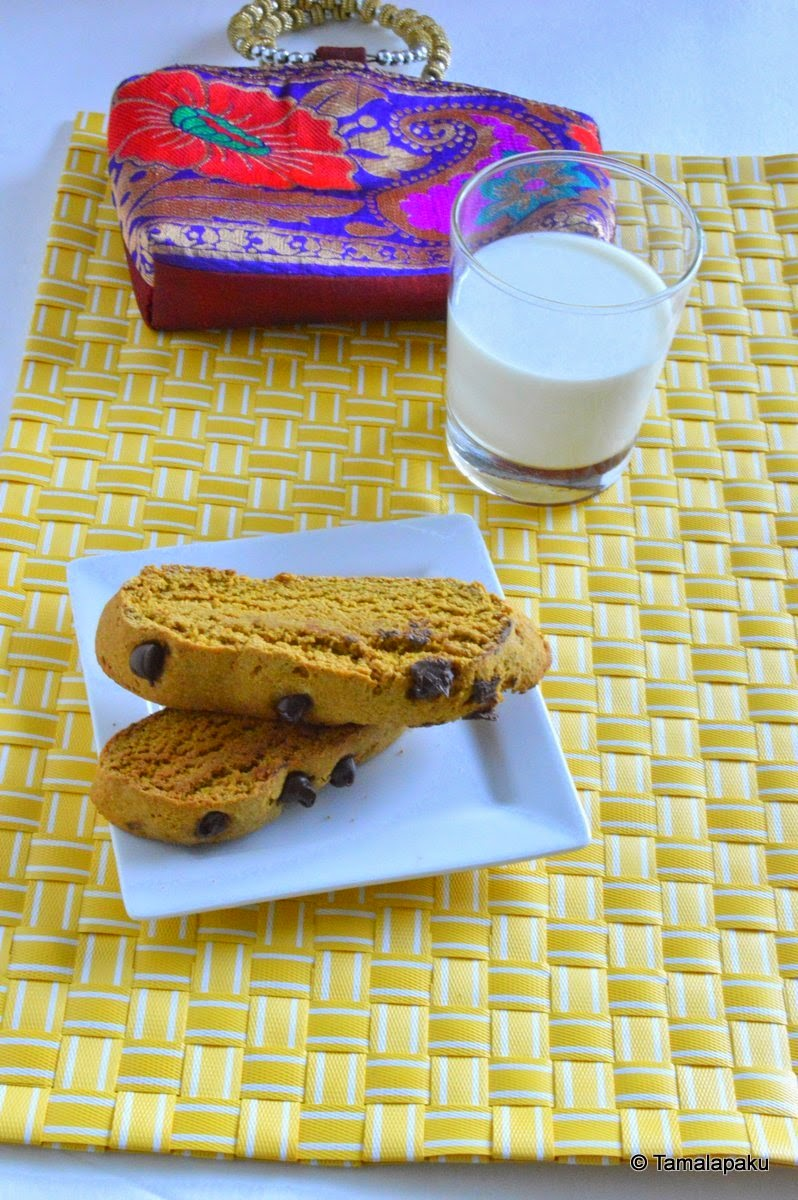 Vegan Pumpkin-Chocolate Chip Biscotti