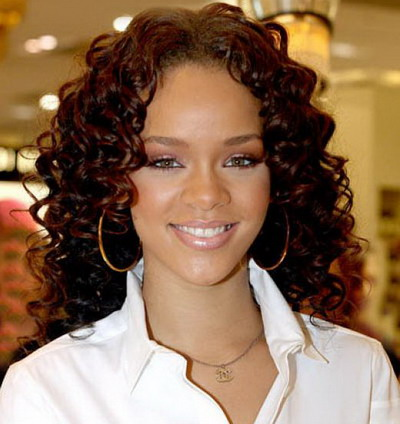 Rihanna Black Curly Hairstyles 2013