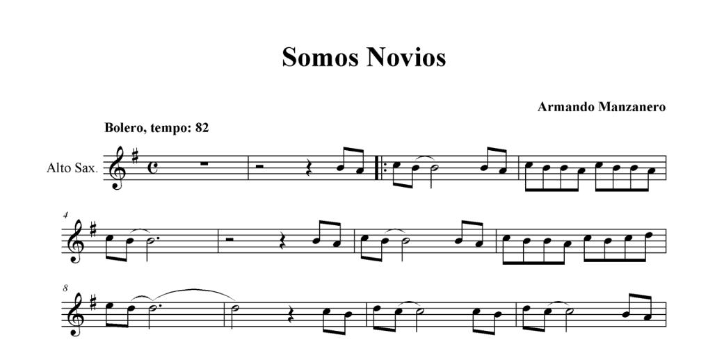 """""""Somos novios"""" es de """"Armando Manzanero Canche"""", hay una hermosa interpretación del mismo autor, y muchos años después fue interpretada por Luis Miguel. Partituras en Clave de Sol, Fa en cuarta y Do en tercera línea."""