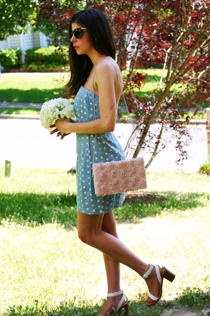polka dot strapless dress, wedding dress, fashion, line and dot dress, zara white sandals