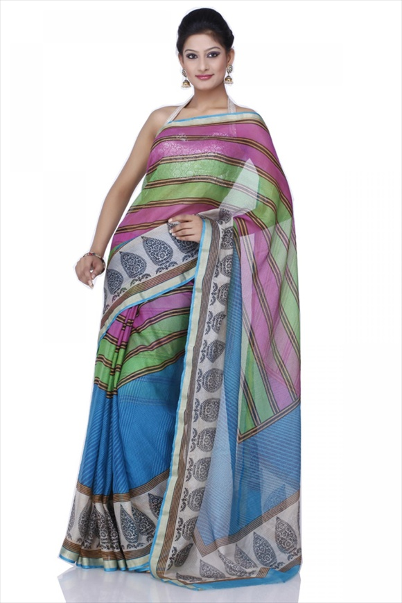 Pool Blue Net Saree new