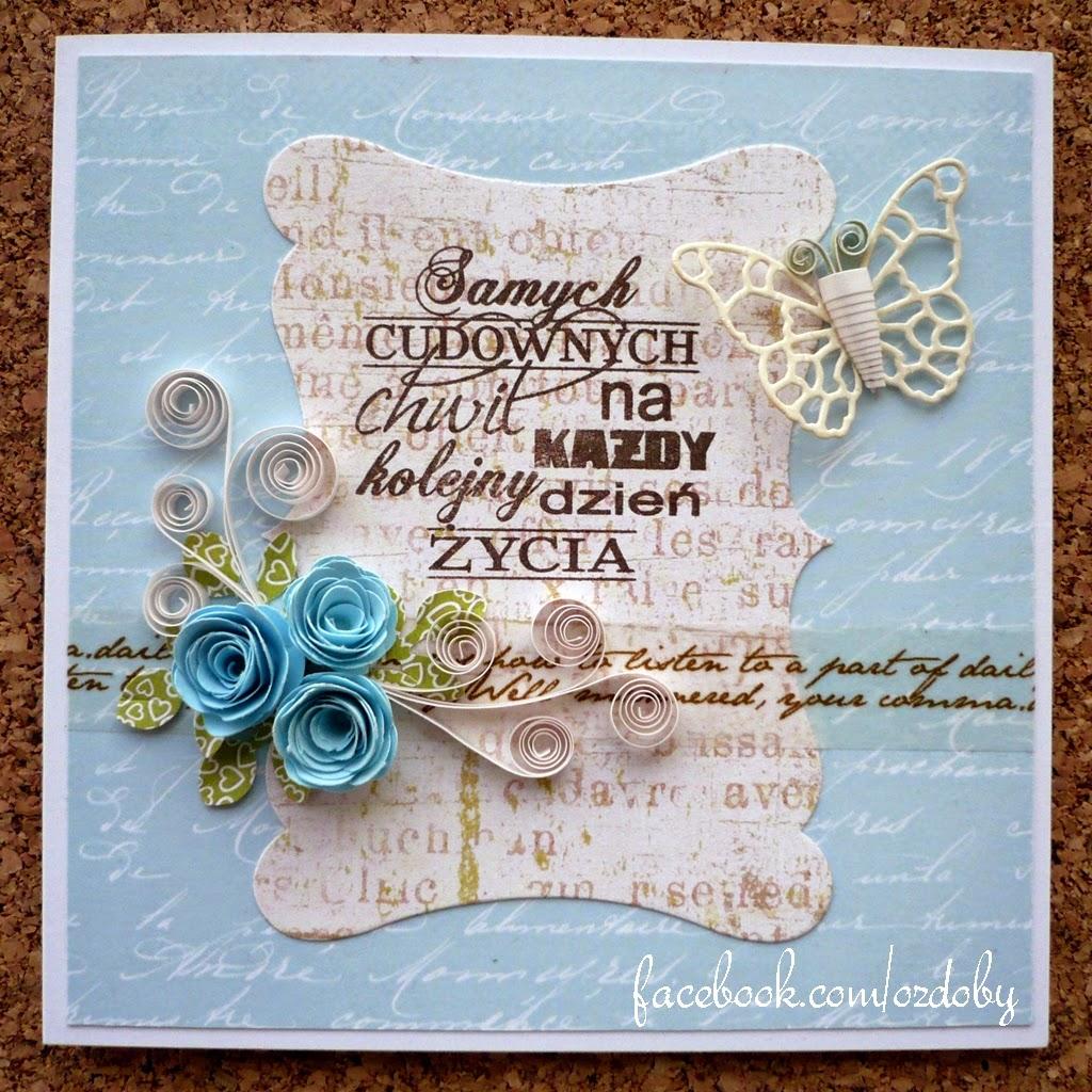 Kartki kwadratowe z niebieskimi kwiatami – quilling