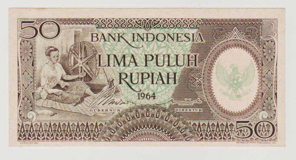 uang kuno Seri pekerja tangan tahun 1964 pecahan 50 rupiah