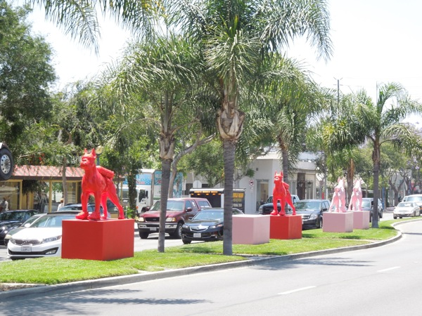 West Hollywood Cloned Bulldog statues