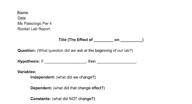 Ms. Paleologo's 8th Grade Science Class: Lab Report Template
