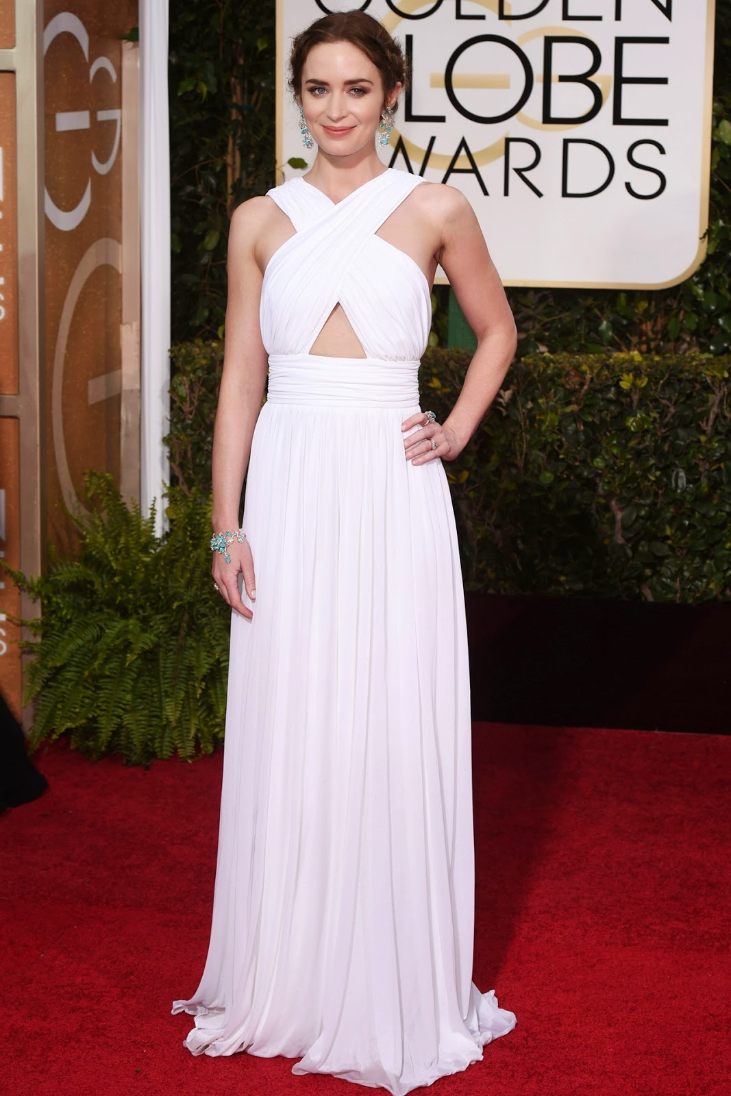 Emily Blunt in a custom-made Michael Kors gown at the Golden Globe Awards 2015