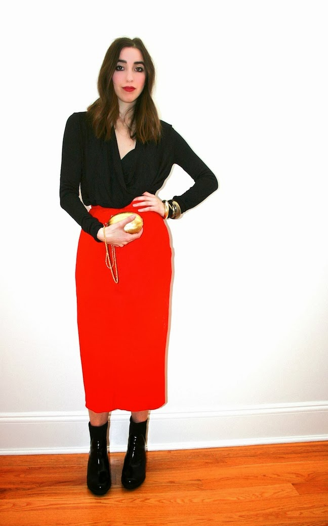 Christmas eve party outfit red dress black blazer black ankle quotes