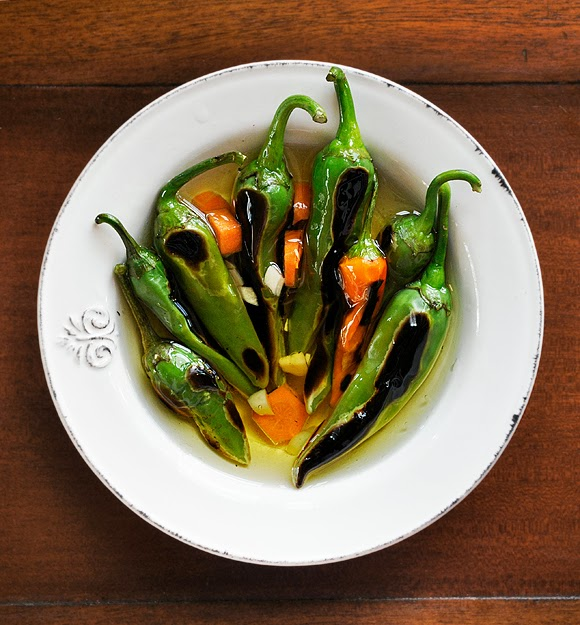 Roasted hot peppers
