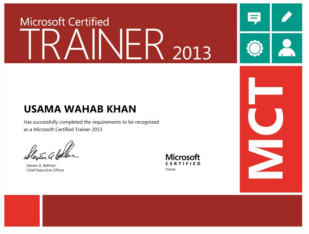 Usama Wahab Khan Microsoft Certified Trainer 2013 Sharepoint
