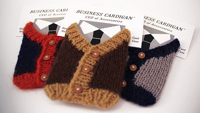 Keep your business cards cosy with a business cardigan colourmoves