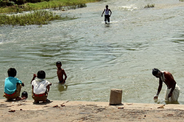children playing in river