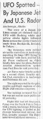 UFO Spotted By Japanese Jet & US Radar - San Francisco Chronicle 12-30-1986