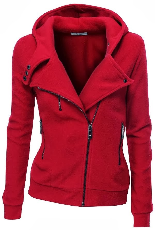 Red warm fleece zip-up hoodie
