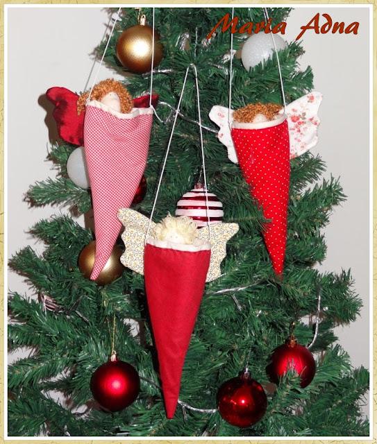 Decoração para árvore de natal, Cones com anjos de natal,  Decoração natalina, Decoração de natal, Maria Adna Ateliê, Patchwork bolsas e afins