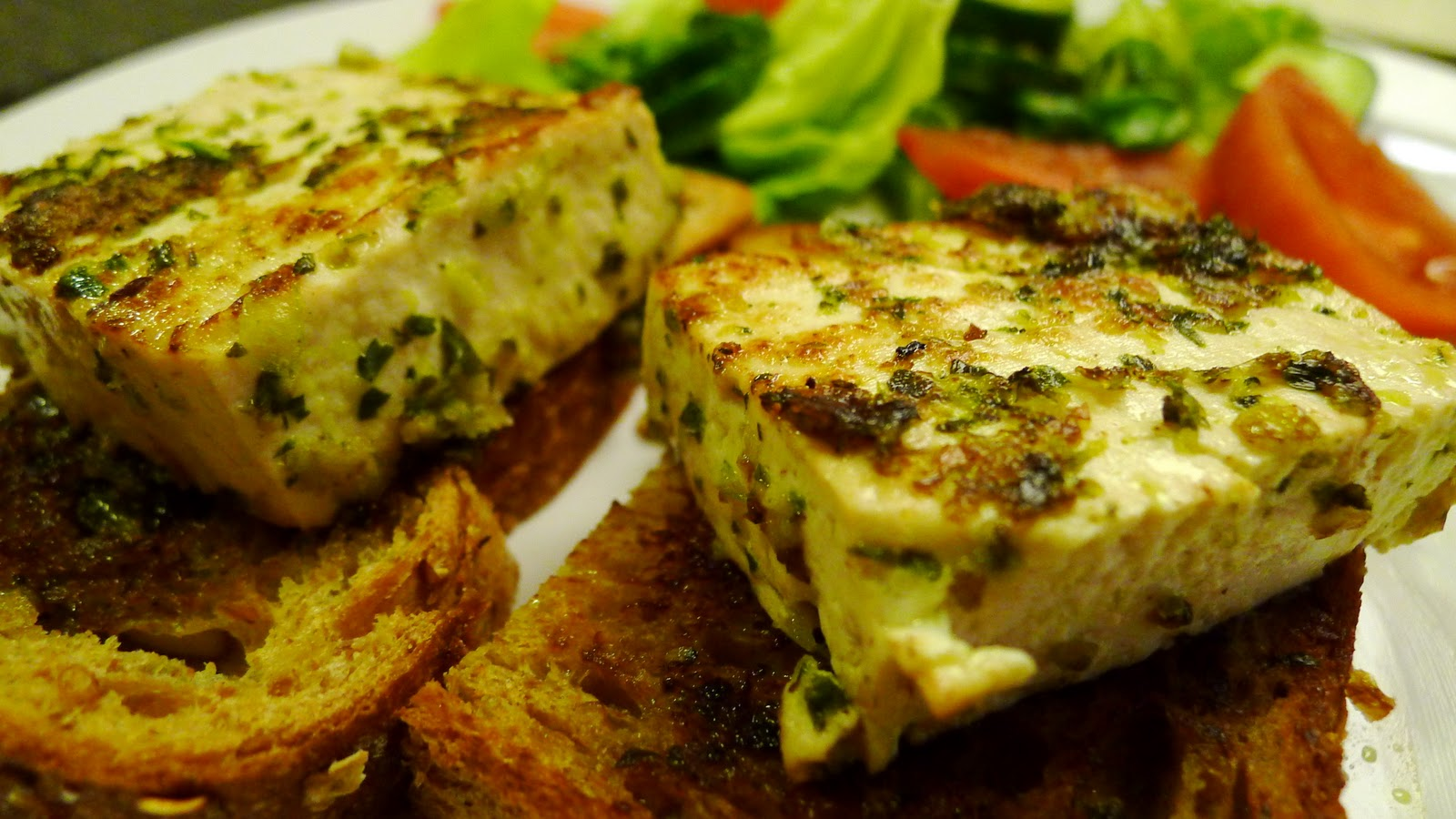Grilled Tofu with Chimichurri on Grilled Bread | Ask For Papaya