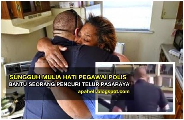 Video : Sungguh Mulia Pegawai Polis Bantu Nenek Pencuri Telur Pasaraya (3 Gambar)