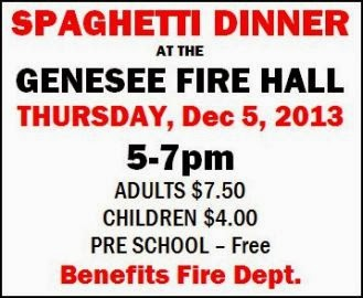 12-5 Spaghetti Dinner--Genesee Fire Hall